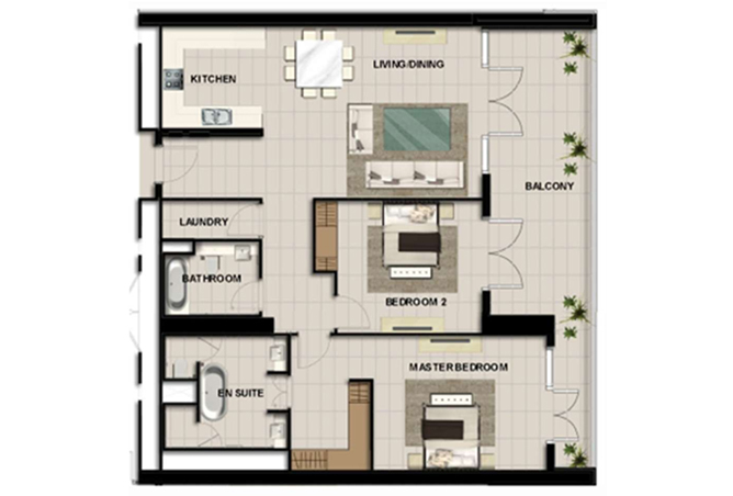 Al Zeina Abu Dhabi Floor Plan 2 Bedroom Apartment Type 11