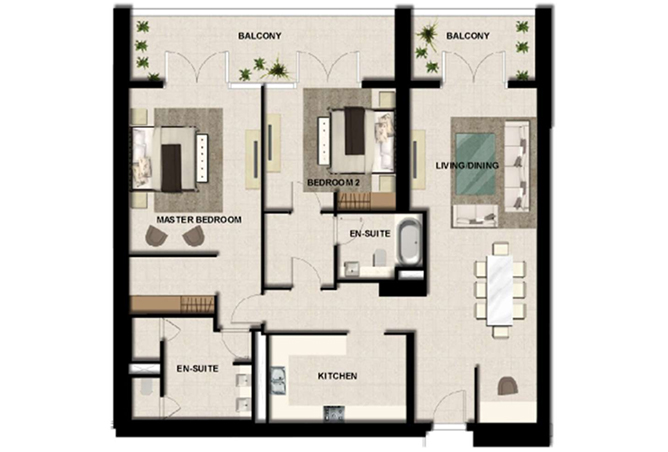 Al Zeina Abu Dhabi Floor Plan 2 Bedroom Apartment Type a 15b