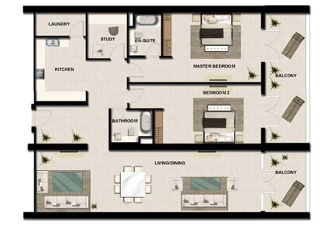 Al Zeina Abu Dhabi Floor Plan 2 Bedroom Apartment Type a 16