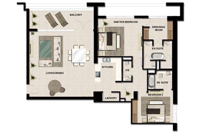 Al Zeina Abu Dhabi Floor Plan 2 Bedroom Apartment Type a 20