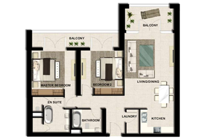 Al Zeina Abu Dhabi Floor Plan 2 Bedroom Apartment Type a1