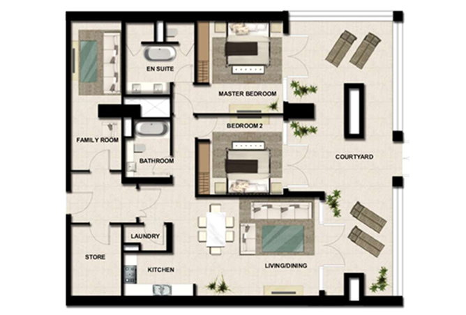 Al Zeina Abu Dhabi Floor Plan 2 Bedroom Apartment Type a1c