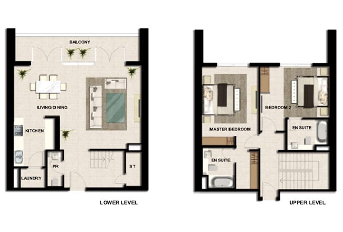 Al Zeina Abu Dhabi Floor Plan 2 Bedroom Apartment Type a2