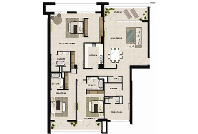 Al Zeina Abu Dhabi Floor Plan 3 Bedroom Apartment Type a 19