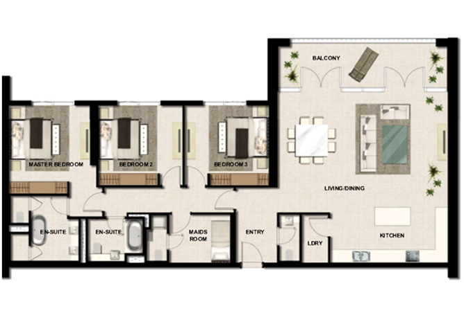 Al Zeina Abu Dhabi Floor Plan 3 Bedroom Apartment Type a3