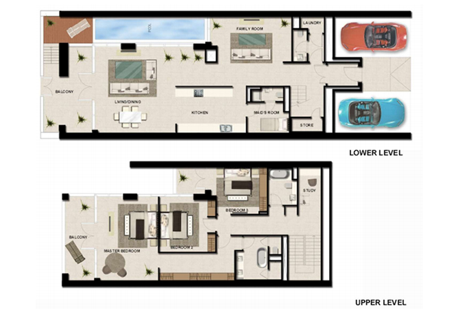 Al Zeina Abu Dhabi Floor Plan 3 Bedroom Townhouse Type th 1