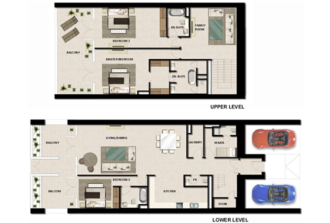 Al Zeina Abu Dhabi Floor Plan 3 Bedroom Townhouse Type th 3