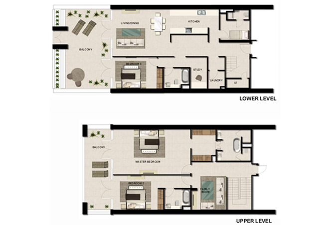Al Zeina Abu Dhabi Floor Plan 3 Bedroom Townhouse Type th 6
