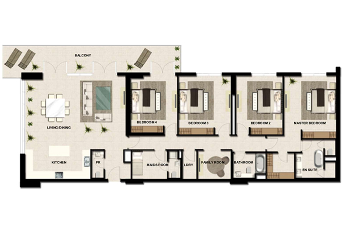 Al Zeina Abu Dhabi Floor Plan 4 Bedroom Apartment Type a 6b