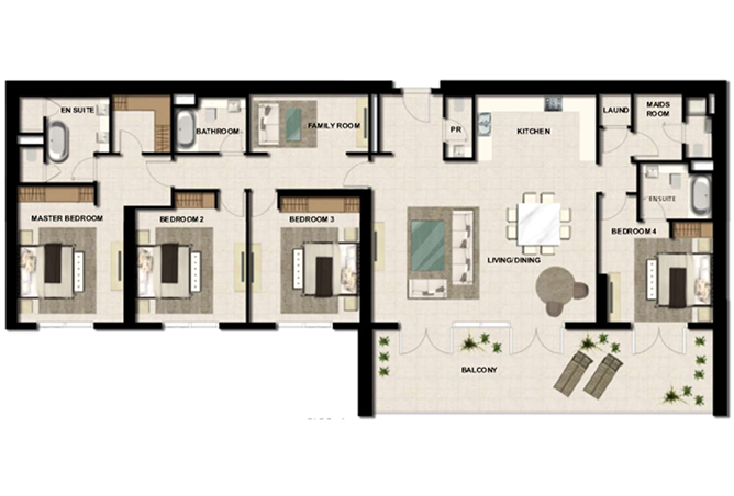 Al Zeina Abu Dhabi Floor Plan 4 Bedroom Apartment Type a 6c
