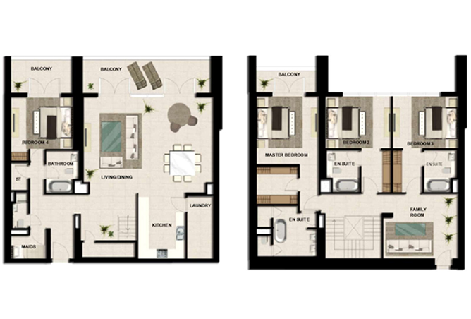 Al Zeina Abu Dhabi Floor Plan 4 Bedroom Apartment Type a 7