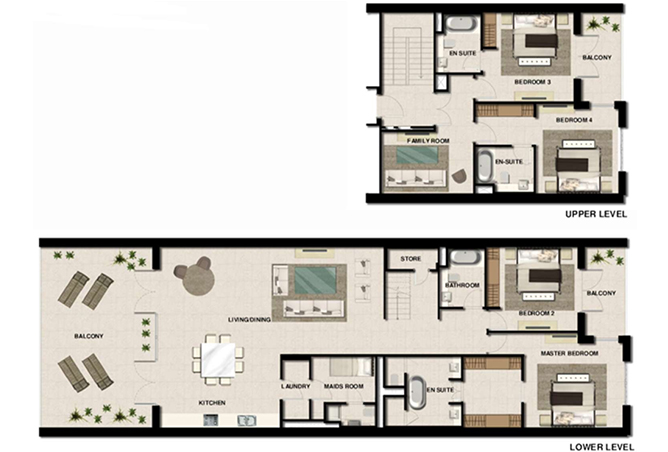Al Zeina Abu Dhabi Floor Plan 4 Bedroom Apartment Type a 8