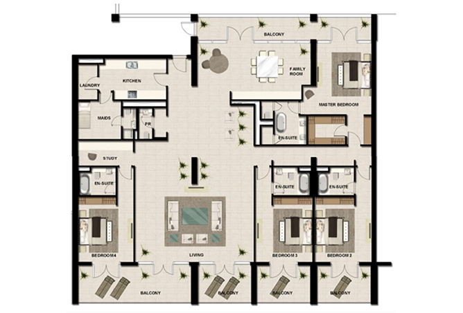 Al Zeina Abu Dhabi Floor Plan 4 Bedroom Apartment Type ph a3