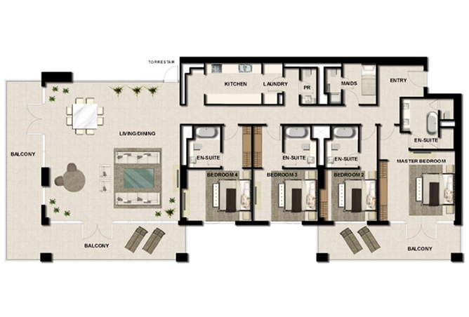 Al Zeina Abu Dhabi Floor Plan 4 Bedroom Apartment Type ph b1