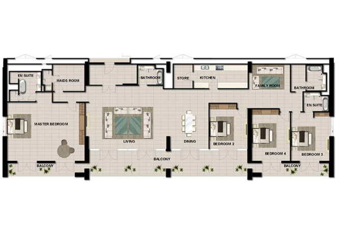 Al Zeina Abu Dhabi Floor Plan 4 Bedroom Penthouse Type e1