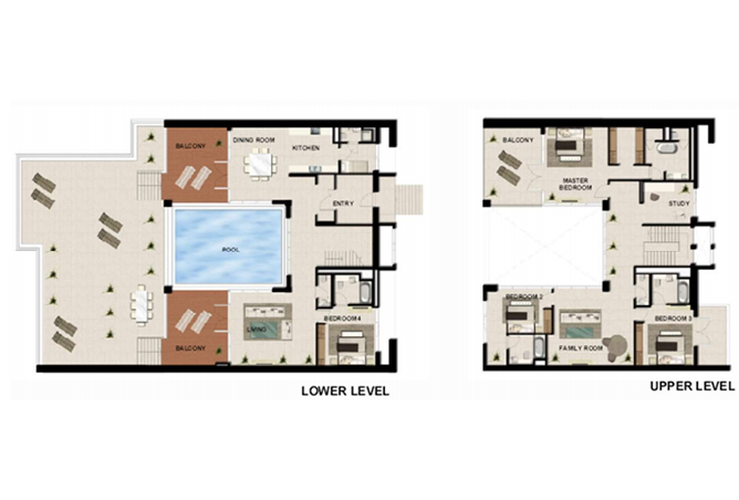 Al Zeina Abu Dhabi Floor Plan 4 Bedroom Podium Villa Type pv2 b2