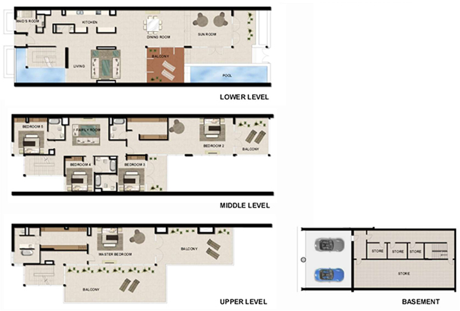 Al Zeina Abu Dhabi Floor Plan 5 Bedroom Beach Villa Type bv 3d
