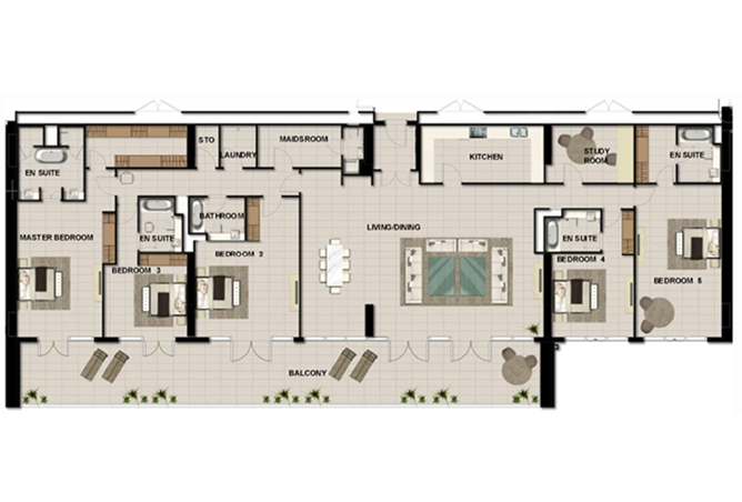 Al Zeina Abu Dhabi Floor Plan 5 Bedroom Penthouse Type f1