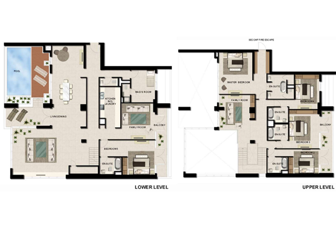 Al Zeina Abu Dhabi Floor Plan 5 Bedroom Sky Villa Type sv 1
