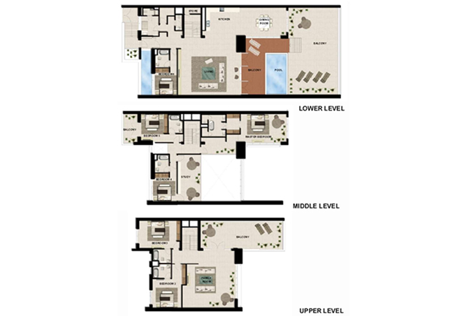 Al Zeina Abu Dhabi Floor Plan 6 Bedroom Podium Villa Type pv1 c2 level 2