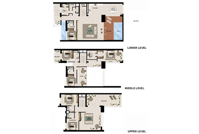 Al Zeina Abu Dhabi Floor Plan 6 Bedroom Podium Villa Type pv1 c2 level 4