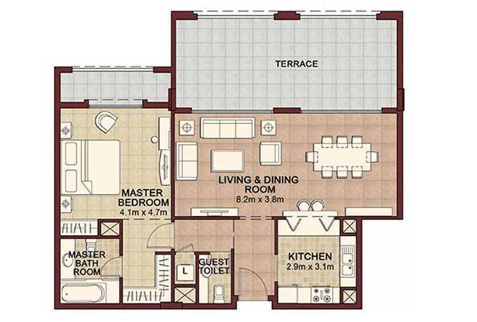 Ansam Floor Plan 1 Bedroom Apartment Type b 1277 Sqft 1