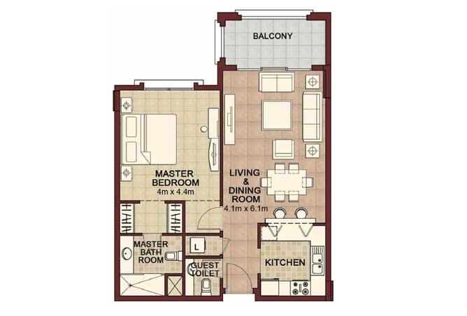 Ansam Floor Plan 1 Bedroom Apartment Type c 875 Sqft 4