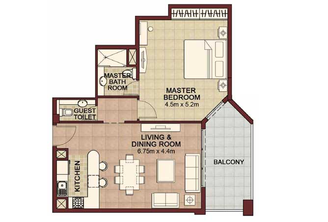Ansam Floor Plan 1 Bedroom Apartment Type c 900 Sqft 2