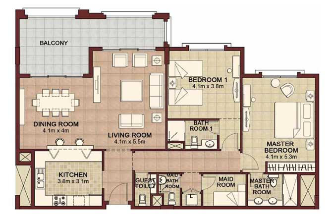 Ansam Floor Plan 2 Bedroom Apartment Type b 1627 Sqft 4