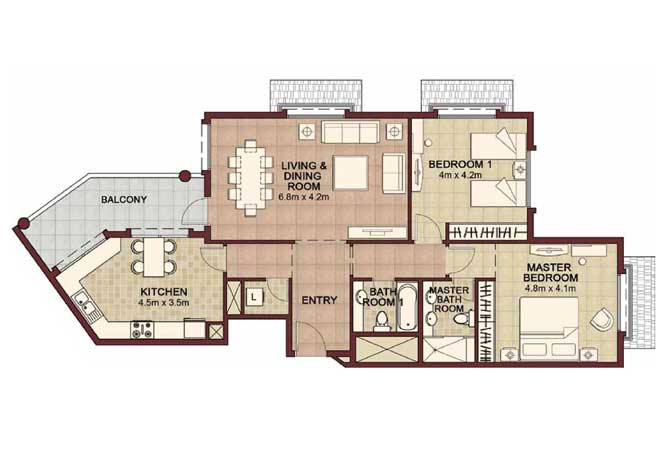Ansam Floor Plan 2 Bedroom Apartment Type c 1400 Sqft 1