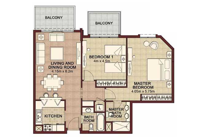 Ansam Floor Plan 2 Bedroom Apartment Type d 1246 Sqft 2
