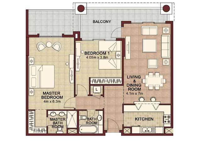 Ansam Floor Plan 2 Bedroom Apartment Type d 1462 Sqft 4