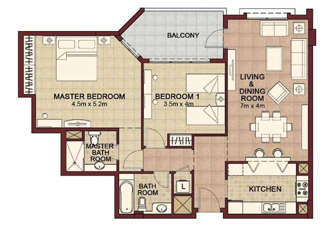 Ansam Floor Plan 2 Bedroom Apartment Type e 1278 Sqft 2