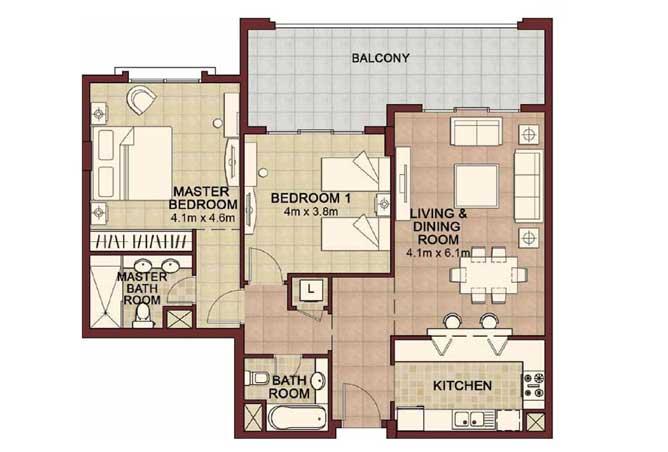 Ansam Floor Plan 2 Bedroom Apartment Type e 1296 Sqft 1