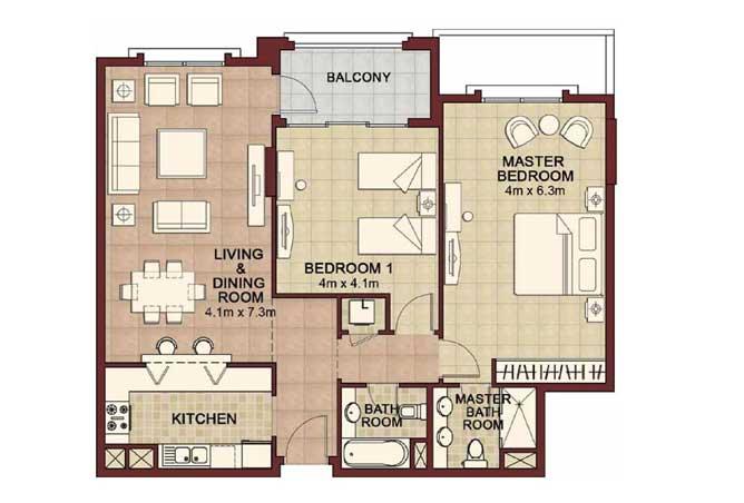 Ansam Floor Plan 2 Bedroom Apartment Type g 1347 Sqft 4