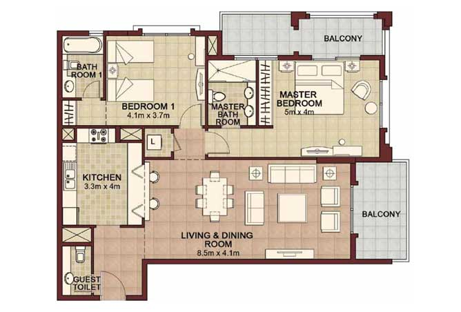 Ansam Floor Plan 2 Bedroom Apartment Type h 1477 Sqft 4