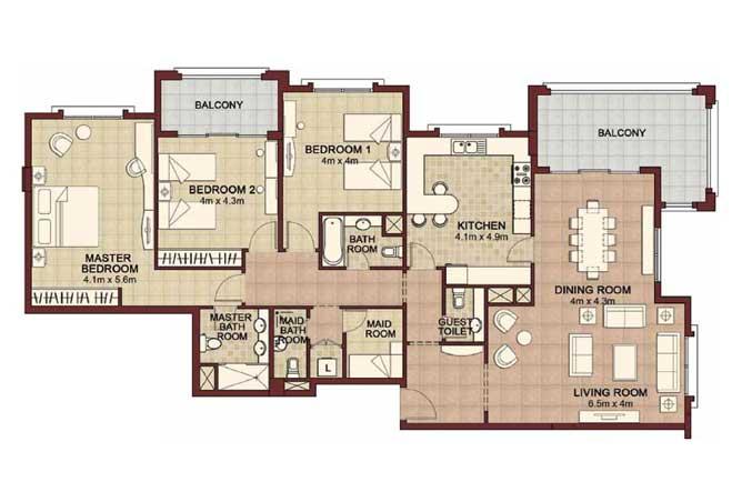 Ansam Floor Plan 3 Bedroom Apartment Type a 2178 Sqft 4