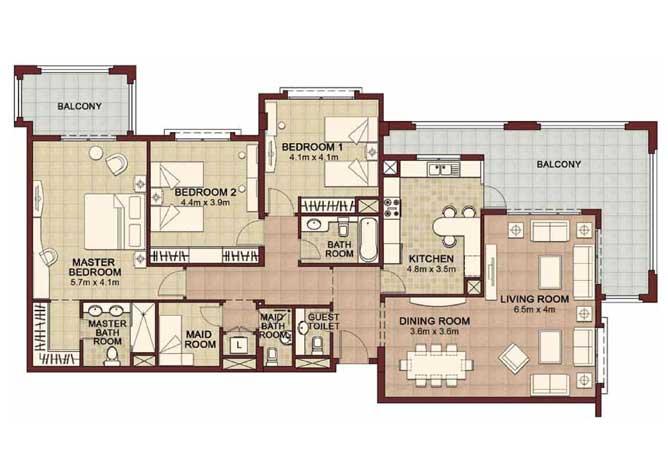 Ansam Floor Plan 3 Bedroom Apartment Type a 2200 Sqft 2