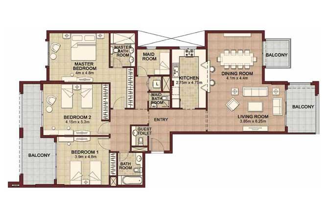 Ansam Floor Plan 3 Bedroom Apartment Type b 2232 Sqft 2