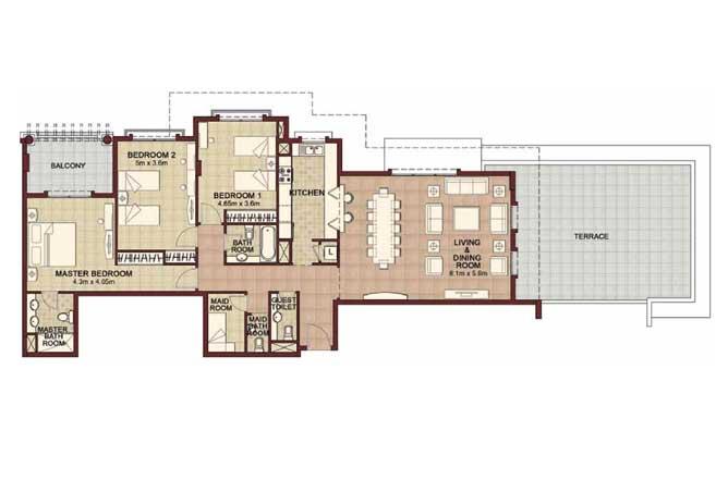 Ansam Floor Plan 3 Bedroom Apartment Type c 2444 Sqft 2