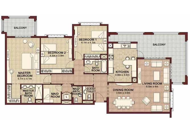 Ansam Floor Plan 3 Bedroom Apartment Type d 2200 Sqft 1