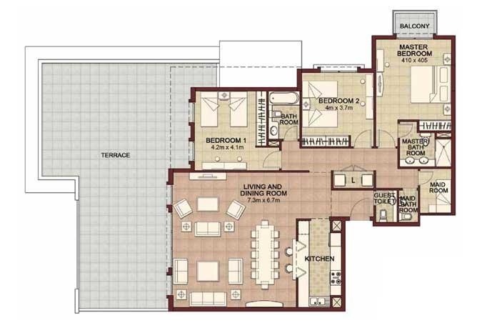 Ansam Floor Plan 3 Bedroom Apartment Type d 2745 Sqft 2