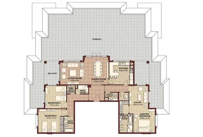 Ansam Floor Plan 3 Bedroom Apartment Type d 4199 Sqft 4