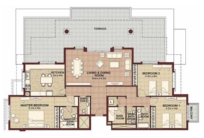 Ansam Floor Plan 3 Bedroom Apartment Type e 2994 Sqft 2