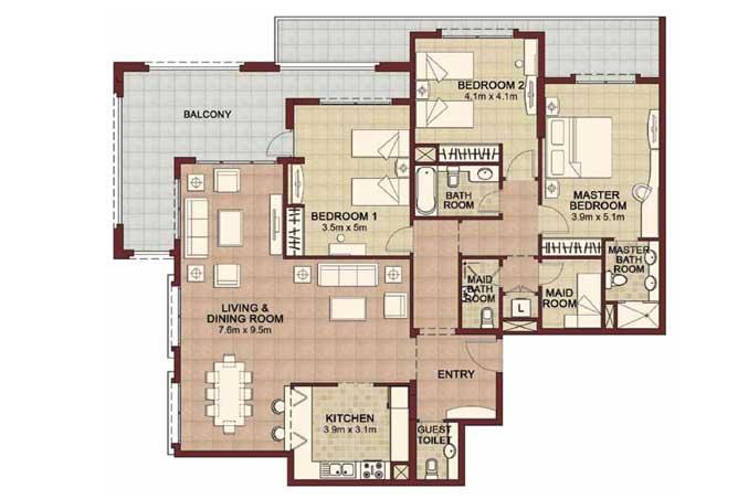 Ansam Floor Plan 3 Bedroom Apartment Type f 2343 Sqft 2