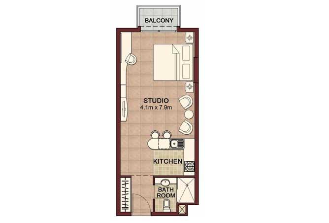 Ansam Floor Plan Studio Apartment Type a 493 Sqft 2