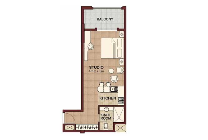 Ansam Floor Plan Studio Apartment Type b 558 Sqft 2