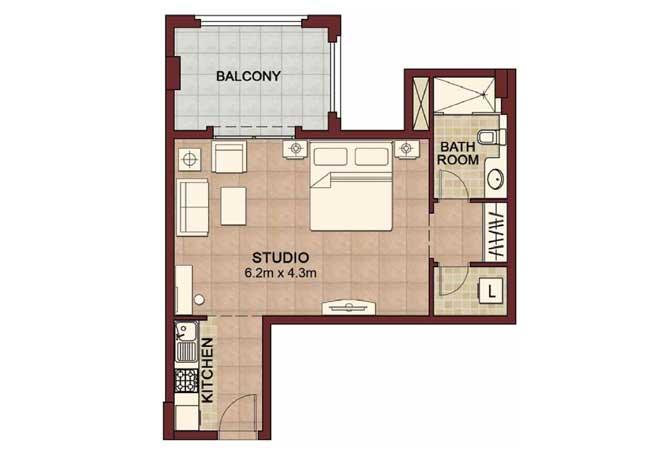 Ansam Floor Plan Studio Apartment Type c 624 Sqft 2