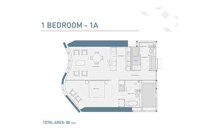 Burj Mohammed Bin Rashid Floor Plan 1 Bedroom Type a Apartment 947 Sqft