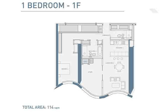 Burj Mohammed Bin Rashid Floor Plan 1 Bedroom Type f Apartment 1227 Sqft